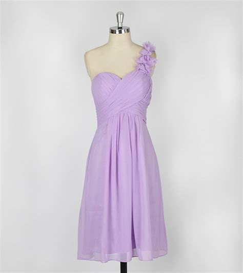 new arrival 2014 pleat lilac flowers sweetheart one shoulder bridesmaid dresses light