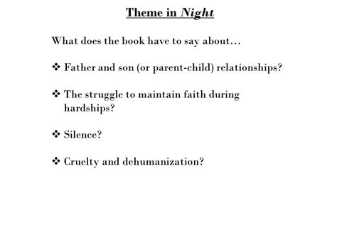 themes in the book night night chapter 1 discussion questions ppt download