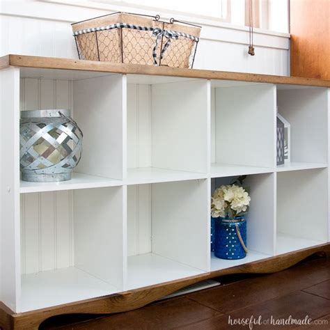 farmhouse console table diy from cube bookcase cube