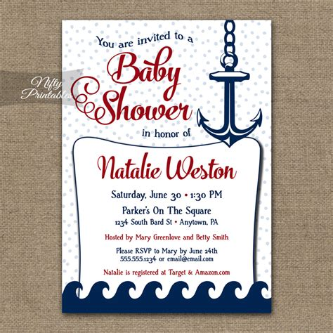 Nautical Theme Baby Shower Invitations by Nautical Baby Shower Invitation Nautical Nifty