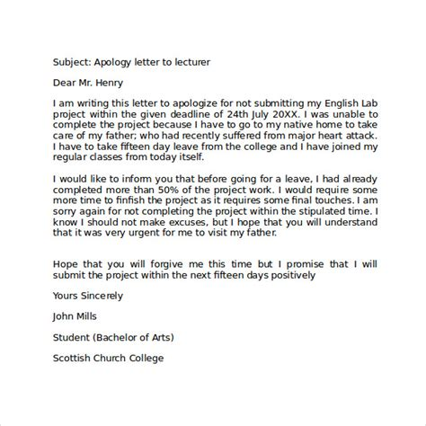 Apology Letter Exle For Apology Letter To School 8 Free Documents In Pdf Word