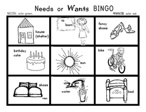 kindergarten activities needs and wants needs and wants bingo game social studies for