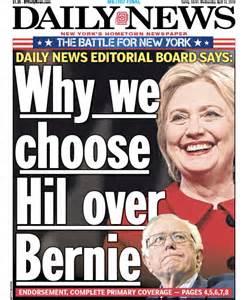 daily news editorial board vote clinton in n y