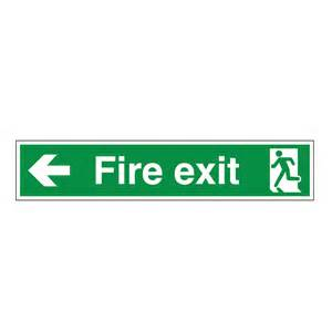 Best Deals On Desks Fire Exit Arrow Left 750mm X 150mm Safety Signs British