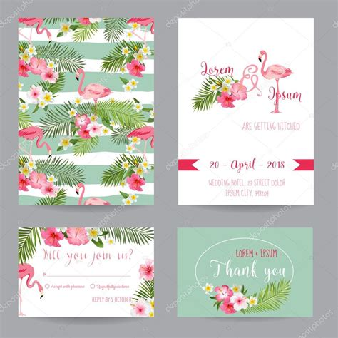 Congratulation Letter Wedding Invitation Save The Date Wedding Invitation Or Congratulation Card Set Tropical Flamingo Theme In