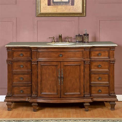 60 Inch Single Bathroom Vanity 60 inch transitional single bathroom vanity with a kashmir gold granite counter top uvsr0277k60