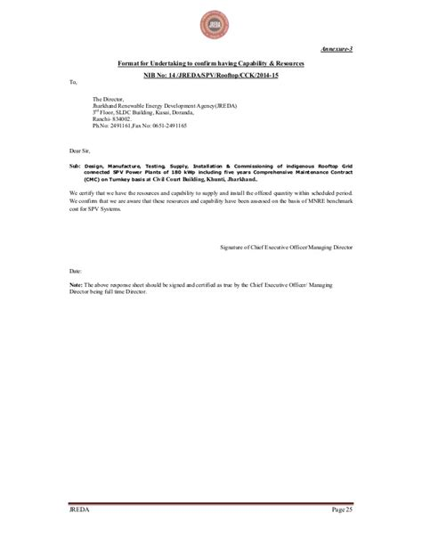 Reference Letter Confirmation Of Re Submitting Bid Document For Solar Plant In Jharkhand
