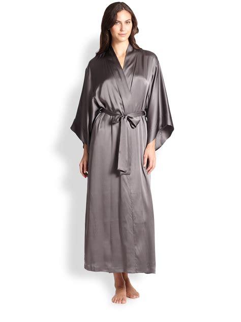 kimono robe silk lyst josie natori silk kimono robe in metallic