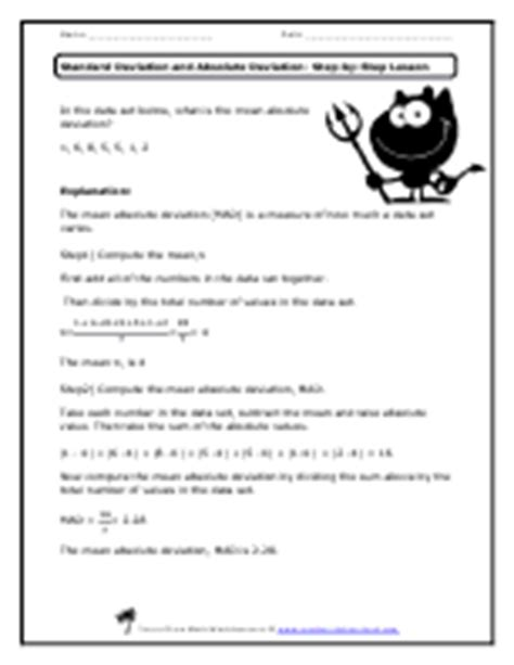 absolute deviation worksheet standard and absolute deviation worksheets