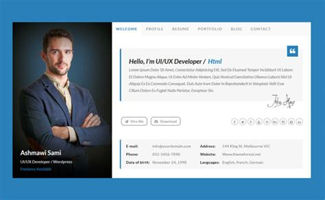 personal profile design templates 45 best html resume cv vcard templates free premium