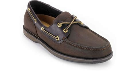 rockport perth boat shoe in brown for lyst