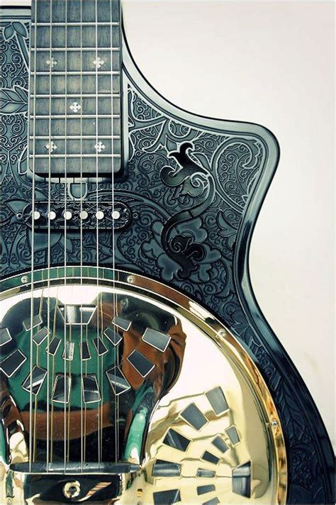 Handmade Resonator Guitars - custom black gold glossy and mat combine act electric