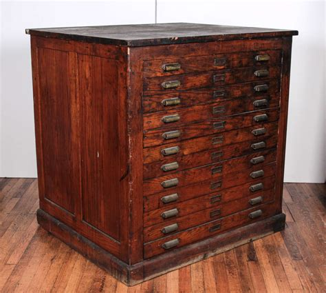 Flat File Cabinet Antique Oak Printer S Flat File Cabinet At 1stdibs