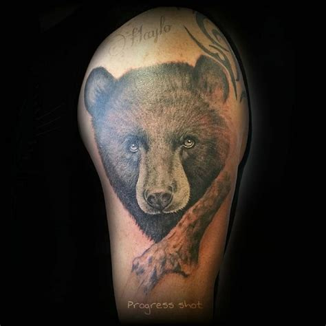 black bear tattoo lucky bamboo tattoos black and gray