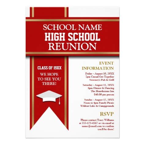 class reunion invitation template school colors banner custom class reunion 5 quot x 7