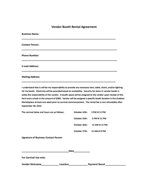 salon booth rental agreement template vendor booth rental agreement template free