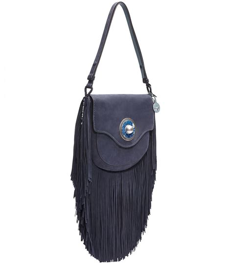 20683 Blue Shoulder Bag 3 In 1 lyst burch fringe suede shoulder bag in blue