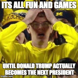 Michigan Fan Meme - image tagged in shocked michigan fan imgflip