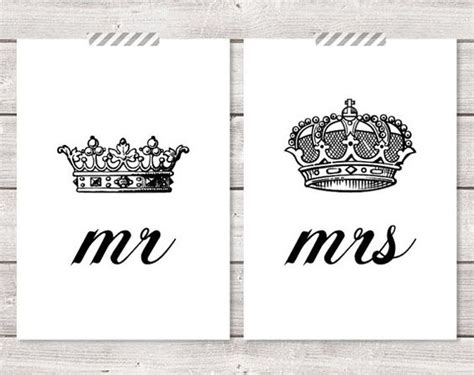 mr printable crown set of two 2 mr and mrs his hers king queen by