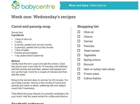 printable recipes for baby food mum and baby recipes week one babycentre uk