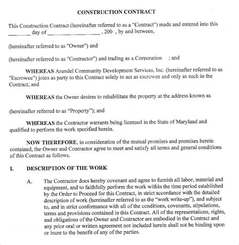 construction terms and conditions template 7 sle contractor templates for free