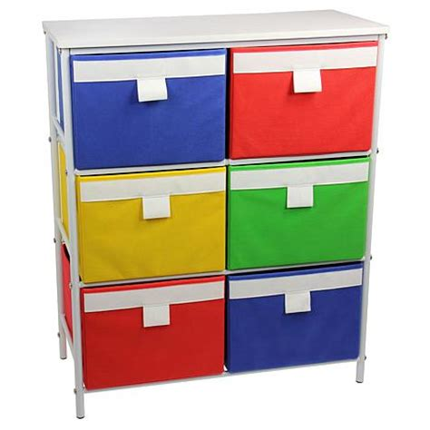 storage stand with 6 colored bins and 2 removable shelves