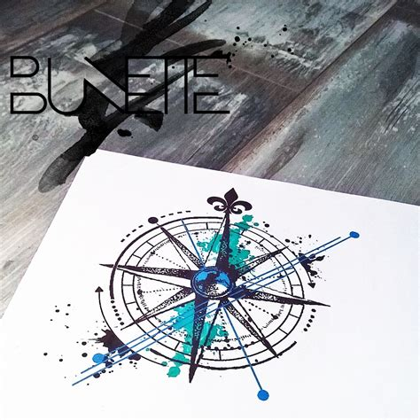 geometric compass tattoo compass abstract trash polka watercolour geometric