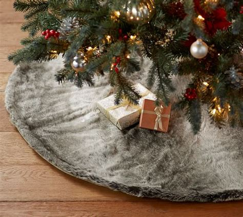 faux fur tree skirt gray ombre pottery barn