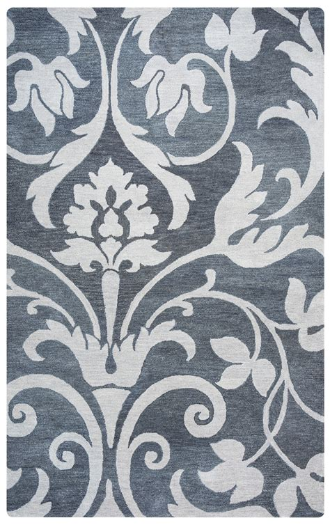 Marianna Fields Ornamental Floral Wool Area Rug In Grey 9 X 12 Wool Area Rugs