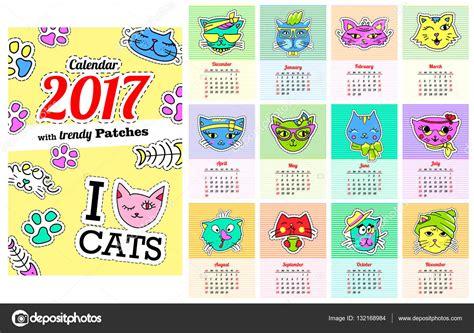 Calendario Con Todos Los Meses Calendario 2017 Con Los Gatos En Dibujos Animados De Los