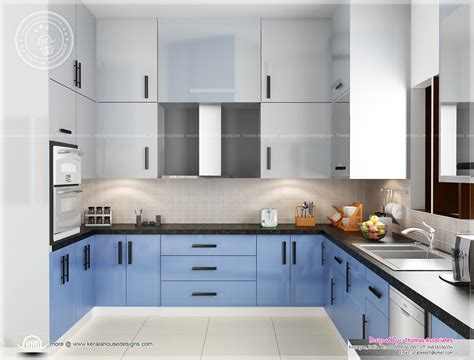 home kitchen interior design beautiful blue toned interior designs kerala home design