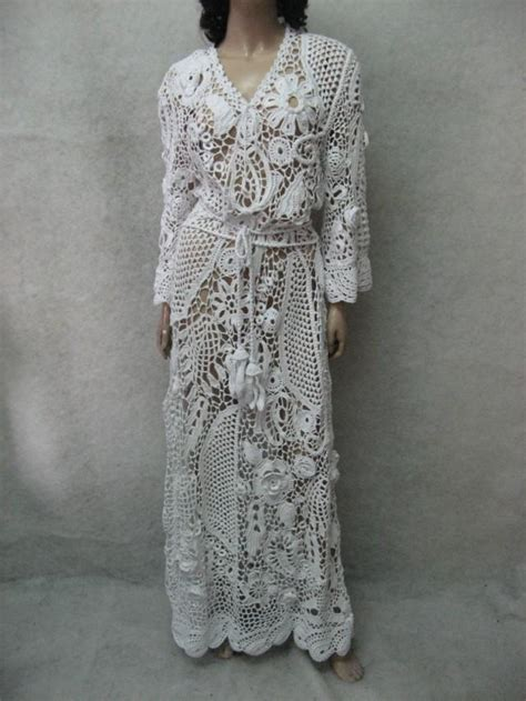 White Flower Crochet Dress lace wedding dresses flower dresses