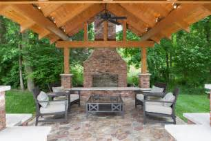 Outdoor brick fireplace patio traditional with brick fireplace covered