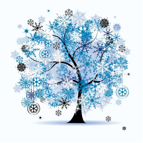 winter tree from snowflakes by the vector colourbox winter tree clipart blue clipground