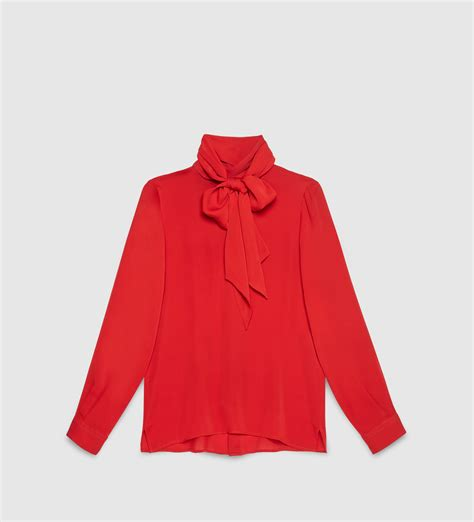 gucci silk satin shirt with scarf in lyst
