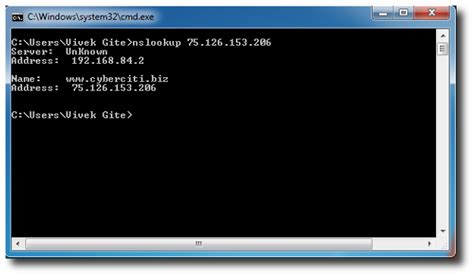 Dns Lookup Command Nslookup Exe A Lookup On An Ip Address Ms Windows