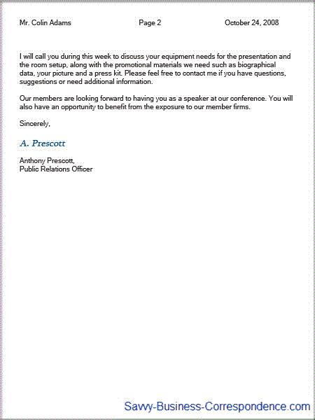 business letter letterhead second page page business letter second page with properly