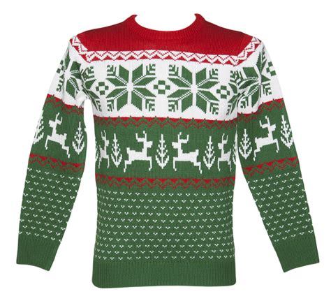 unisex green and red wonderland knitted christmas jumper