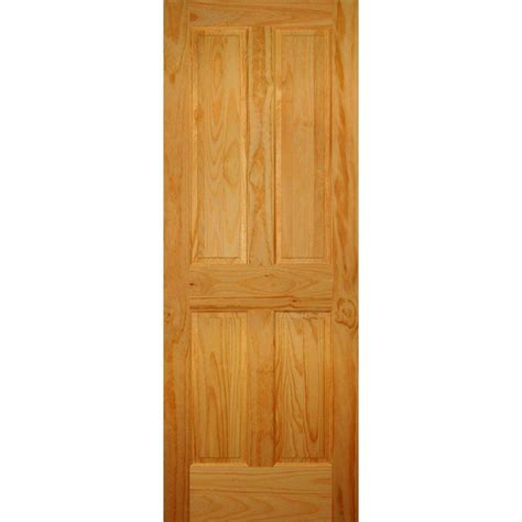 Home Depot Prehung Interior Door Builder S Choice 28 In X 80 In 4 Panel Solid Pine