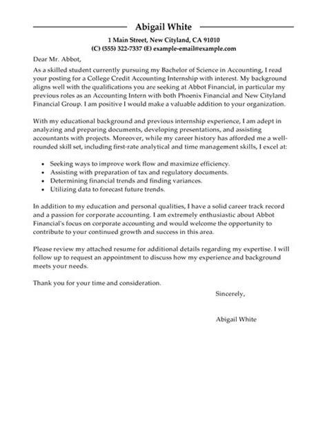 cover letter for accounting internship resume application letter sle internship cover letter sle