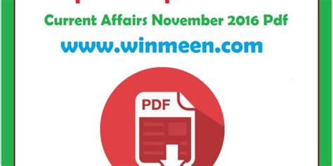 Current Affairs For Mba 2016 by Tnpsc Current Affairs In Tamil November 2016 Winmeen Pdf