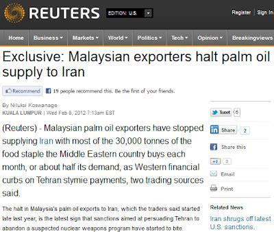 Eksport Minyak Kelapa Sawit satu umat malaysia eksport minyak sawit ke iran dihentikan
