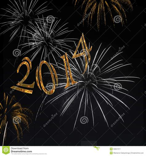 black and gold new years fireworks happy new year 2014 stock image image 35957217