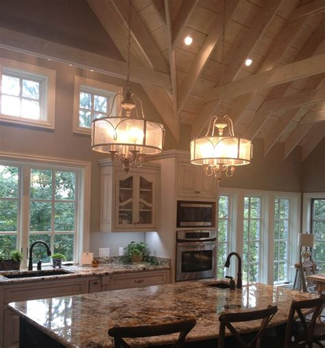 country kitchen ceiling lights french country gray glazed cabinets white washed vaulted