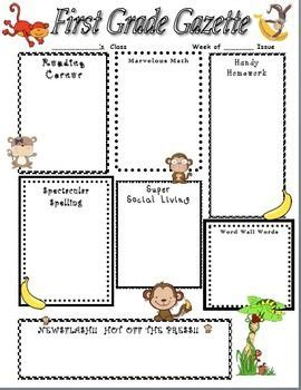 242 Best Images About 1st Grade On Pinterest Newsletter Templates Activities And First Grade Math Monkey Newsletter Template