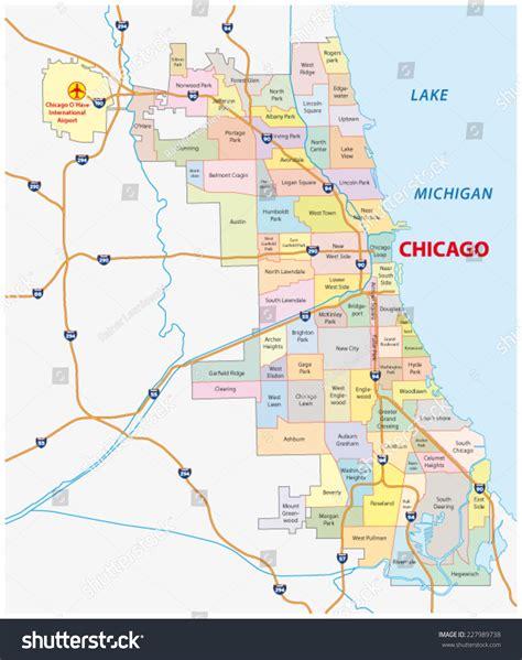 chicago map vector chicago neighborhood map stock vector 227989738