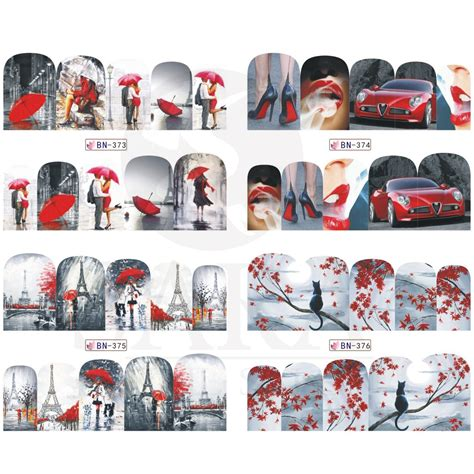 Nail Water Sticker 12 Pcs 1 1pcs painting water transfer mixed design nail decal stickers manicure wraps