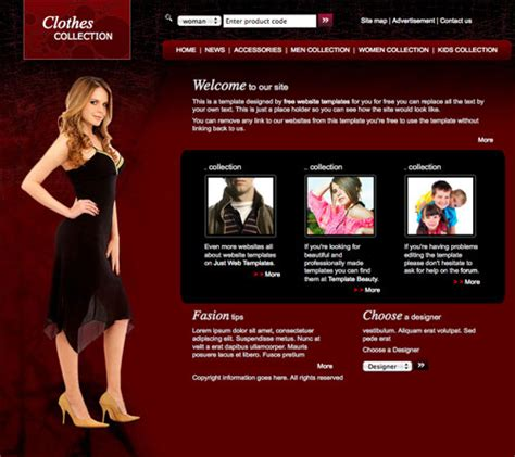Clothes Fashion Template Free Website Templates Fashion Website Templates