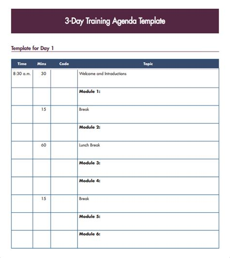 training agenda template bing images