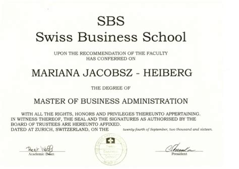 Mba In Business Management by Mba Master Degree In Business Administration Certificate